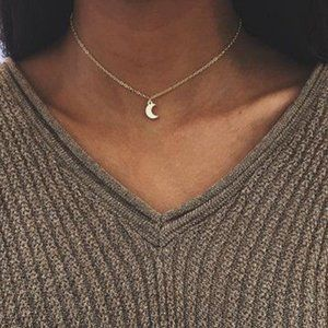Moon Choker Necklace (Gold)